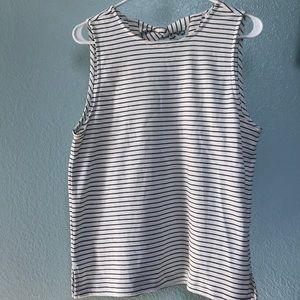 J Crew sleeveless black and white stripe shirt